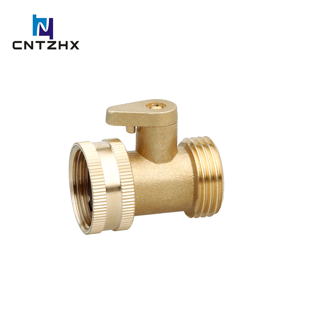 Heavy Duty Brass Garden Hose Connector with Shut Off Valve